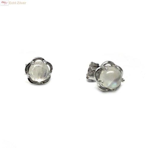 ZilverVoorJou Zilveren bloem maansteen oorknopjes