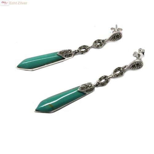 ZilverVoorJou Zilveren markasiet oorhangers turkoois groene staaf