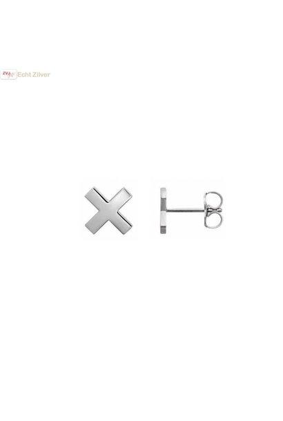 Zilveren kleine kruis, cross, oorbellen stekers