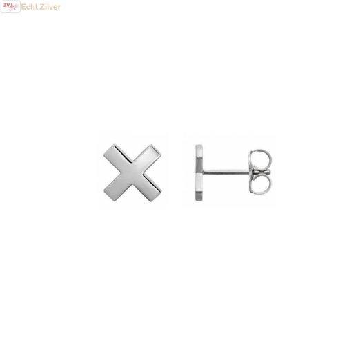 ZilverVoorJou Zilveren kleine kruis, cross, oorbellen stekers