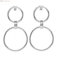 Zilveren design oorstekers met 2 cirkels