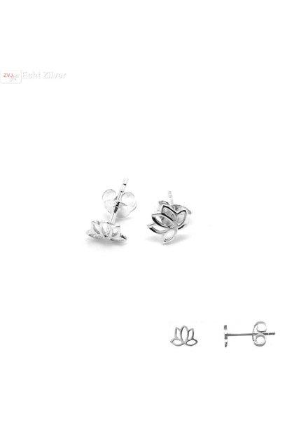 Zilveren lotus bloem oorstekertjes