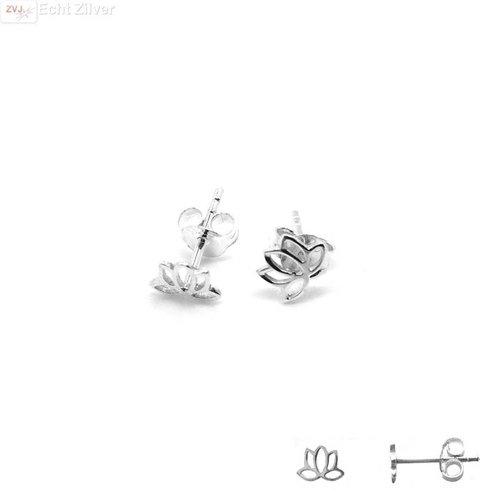 ZilverVoorJou Zilveren lotus bloem oorstekertjes