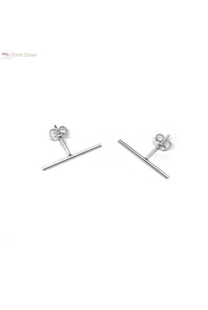 Zilveren lange staaf oorstekers