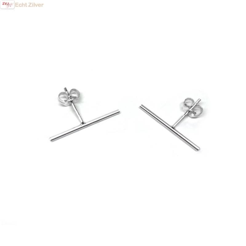 Zilveren lange staaf oorstekers-1