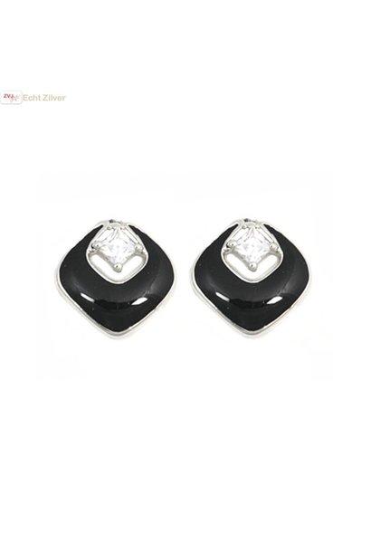 Zilveren zwarte vierkante oorstekers met witte zirkoon