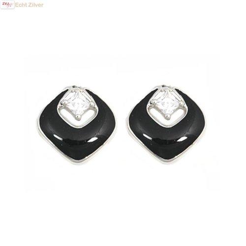ZilverVoorJou Zilveren zwarte vierkante oorstekers met witte zirkoon