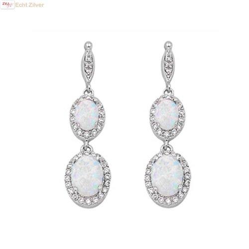 ZilverVoorJou Zilveren elegante witte opaal en zirkoon oorbellen