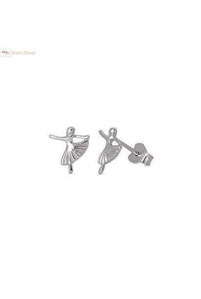 Zilveren kleine ballerina oorstekers