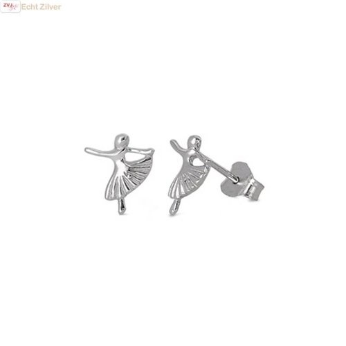 ZilverVoorJou Zilveren kleine ballerina oorstekers