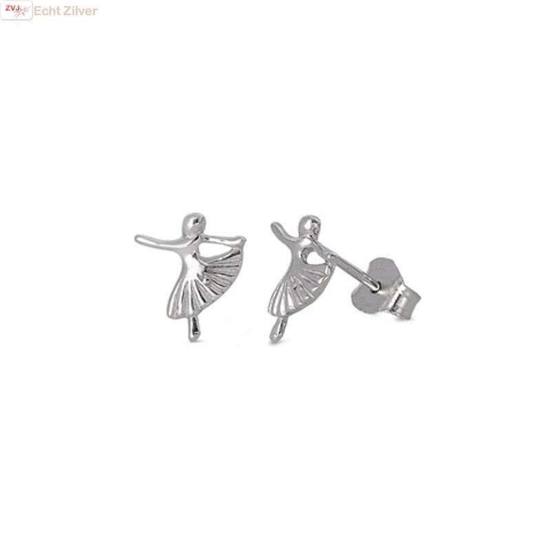 Zilveren kleine ballerina oorstekers-1