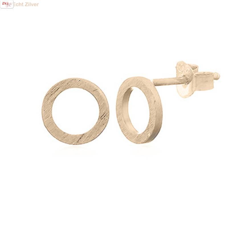 mat goud op zilver cirkel oorstekers-1