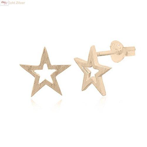 ZilverVoorJou mat goud op zilver open ster oorstekers
