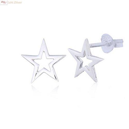 ZilverVoorJou Zilveren hoogglans ster oorstekers
