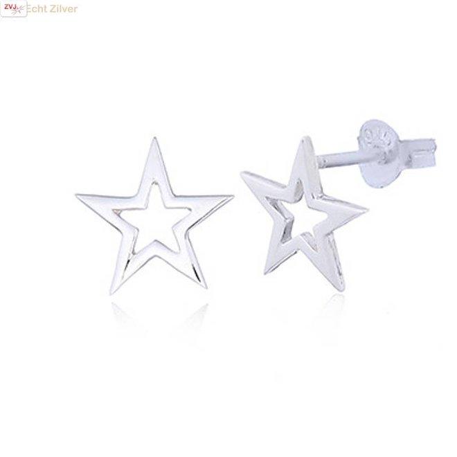 Zilveren hoogglans ster oorstekers
