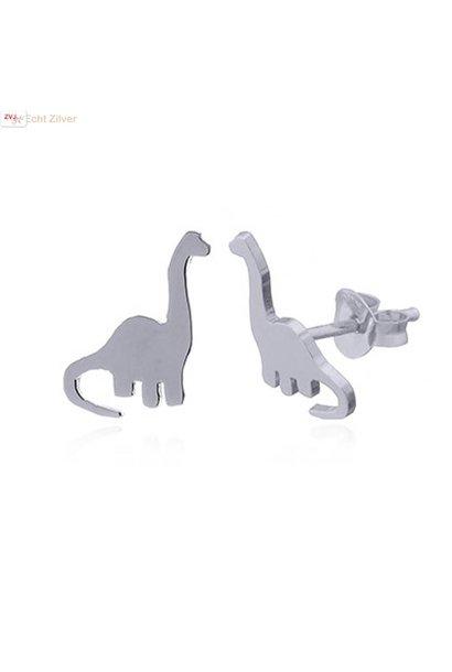 Zilveren dinosaurus sauropod oorstekers