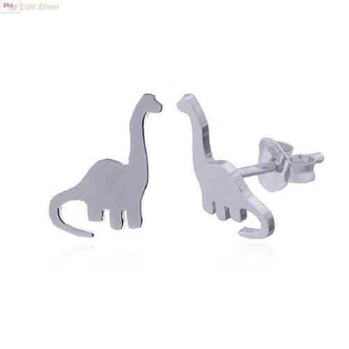 ZilverVoorJou Zilveren dinosaurus sauropod oorstekers