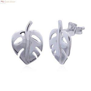 ZilverVoorJou Zilveren Indian bean tree leaf oorstekers