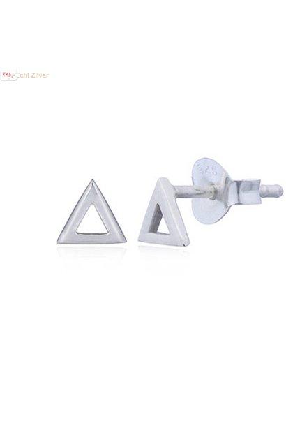 Zilveren hoogglans driehoek oorstekers