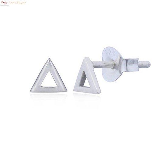 ZilverVoorJou Zilveren hoogglans driehoek oorstekers