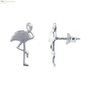 ZilverVoorJou Zilveren flamingo oorstekers