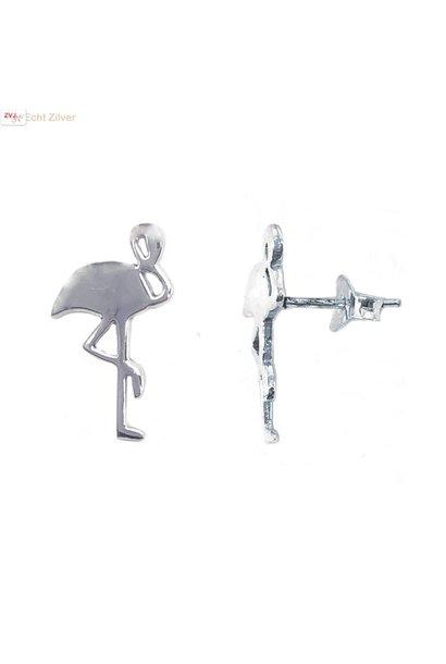 Zilveren flamingo oorstekers