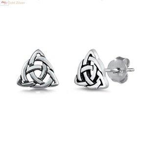 ZilverVoorJou Ziveren keltische kleine driehoek oorstekers
