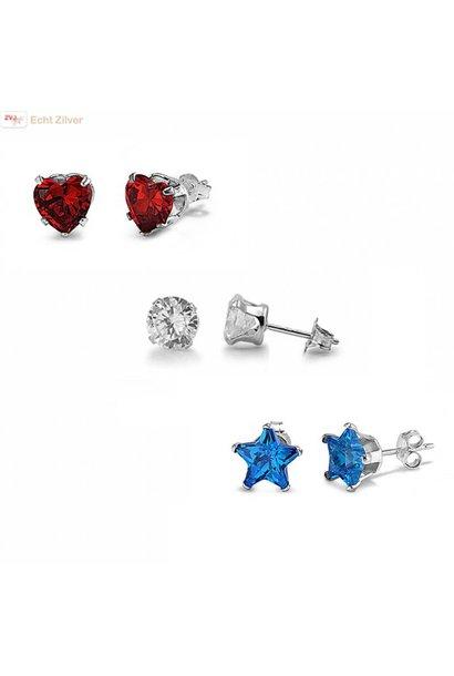 Zilveren 3-delige set rode hartje blauwe sterretjes witte rondjes oorstekers