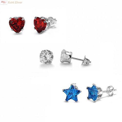 ZilverVoorJou Zilveren 3-delige set rode hartje blauwe sterretjes witte rondjes oorstekers