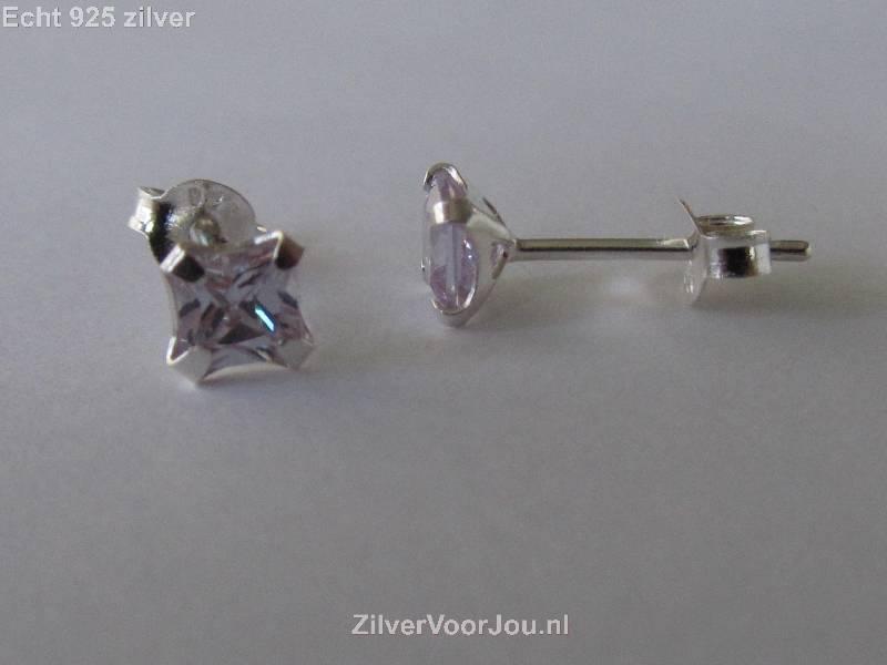 Zilveren kleine vierkante oorstekers wit lila zirkonia-4