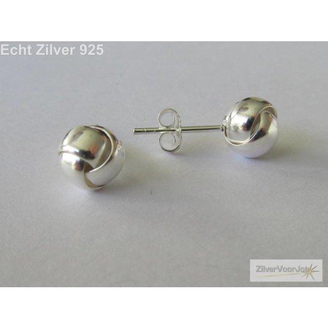 Zilveren knoop oorstekers 7 mm