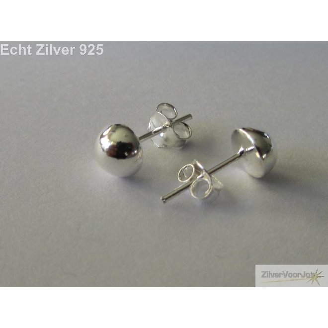 Zilveren halve bal oorknopjes