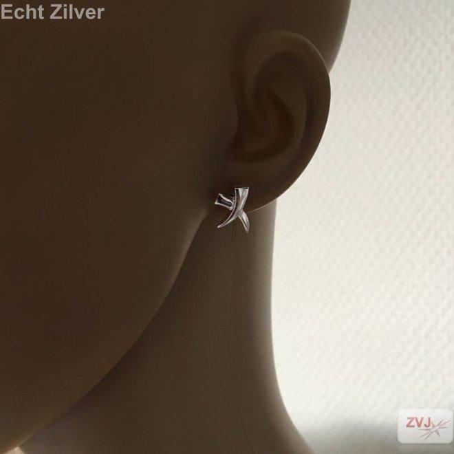 Zilveren moderne cross kruis X oorstekers