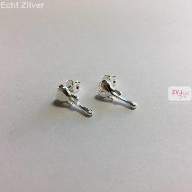 Zilveren smeltend hart oorbellen stekers
