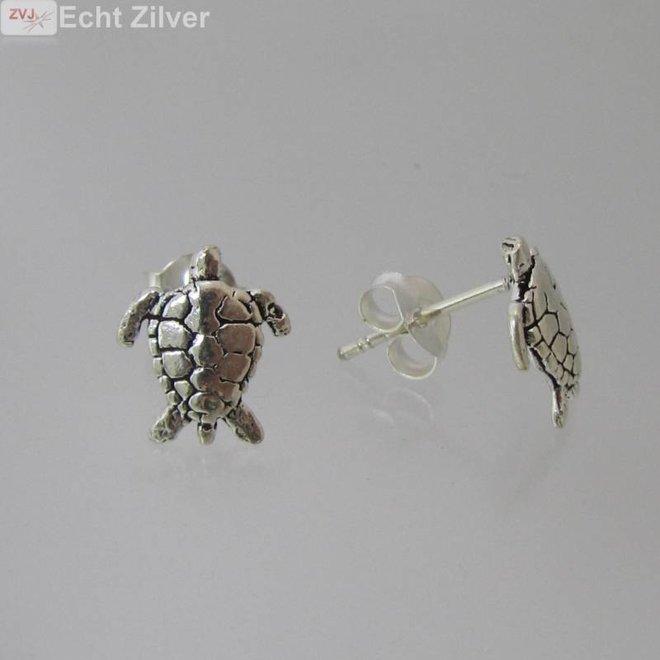 Zilveren turtle schildpad oorstekers