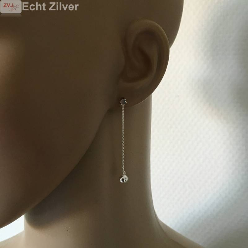 Zilveren mini david ster oorstekers met bal ketting-2