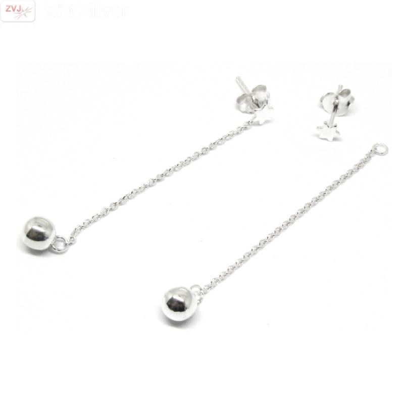 Zilveren mini david ster oorstekers met bal ketting-3