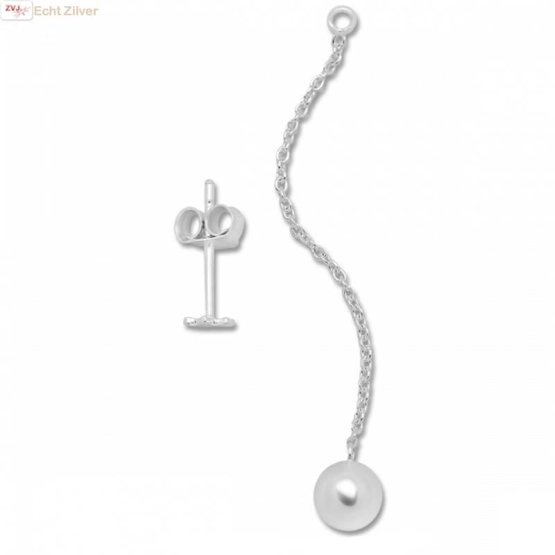 Zilveren mini david ster oorstekers met bal ketting-4