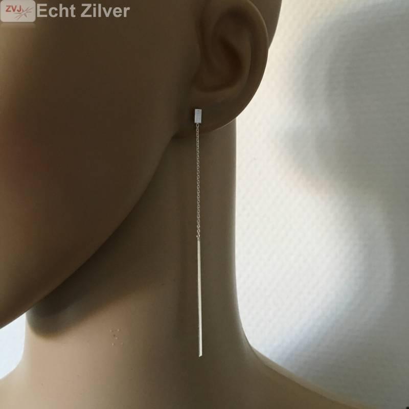Zilveren mini staaf oorstekers met staaf ketting-2