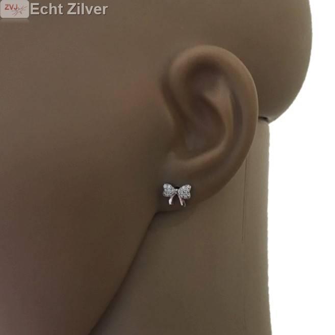 Zilveren bowknot strikje oorstekers witte zirkoon-2