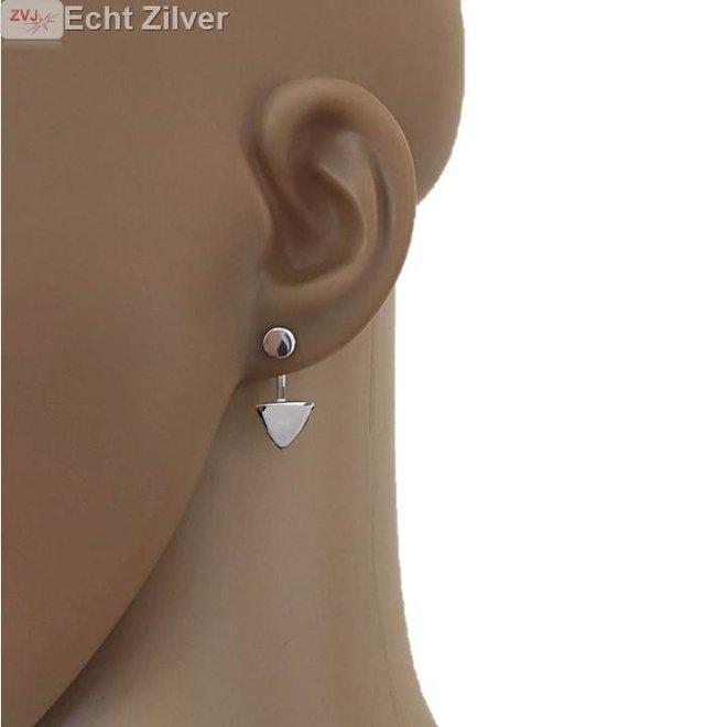Zilveren cirkel triangel oorstekers