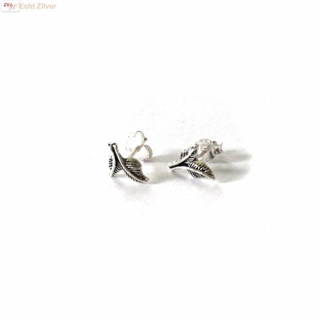 Zilveren mini leaves oorstekers