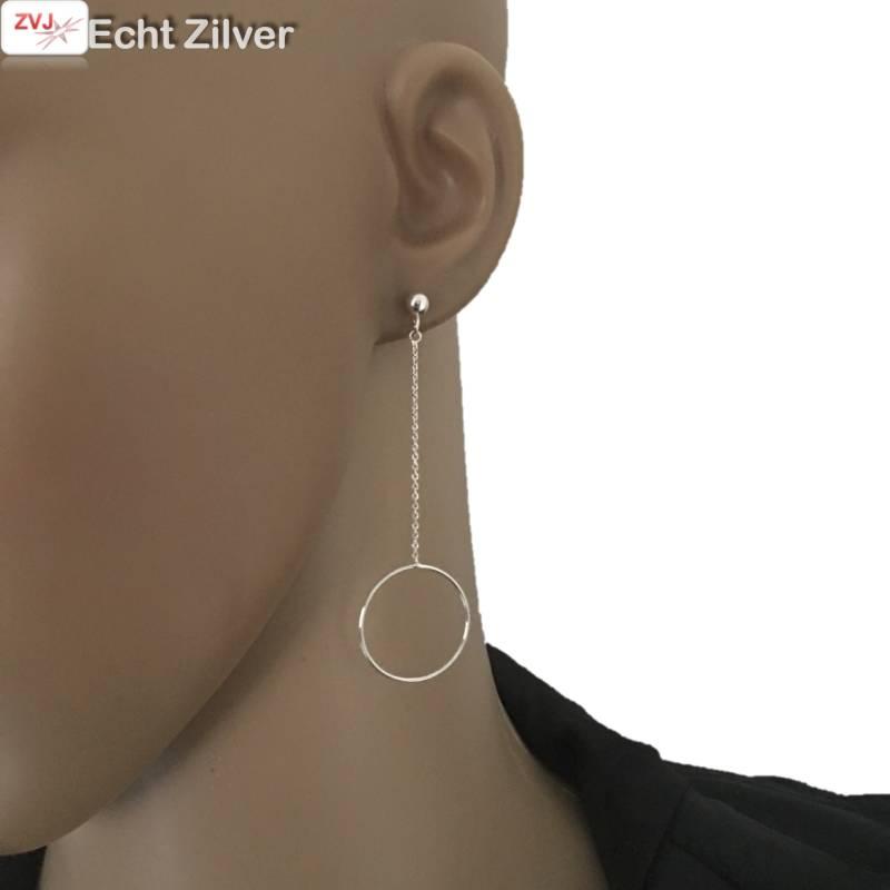 Zilveren ketting cirkel bal oorbellen hangers-2