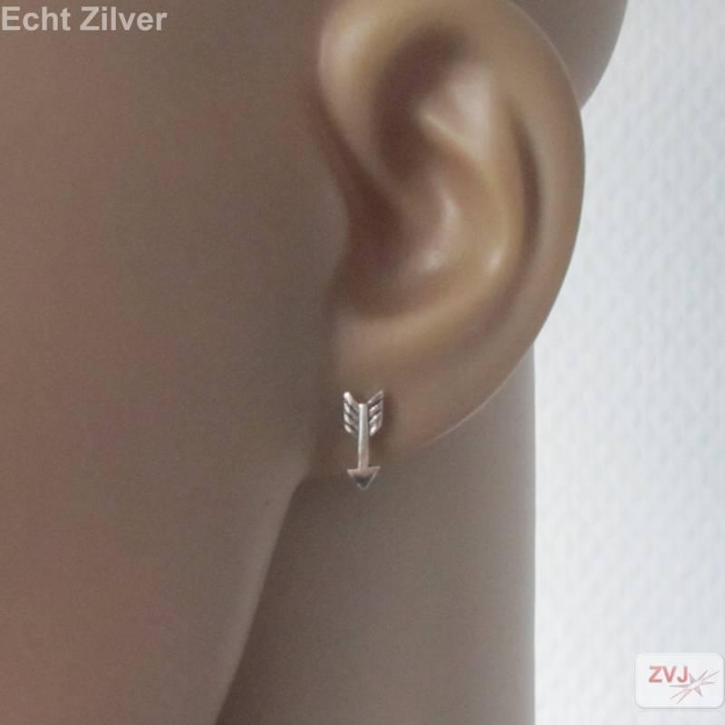 Zilveren kleine pijltjes arrow oorstekers-2