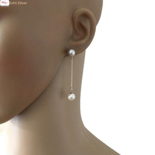 Zilveren grijs wit parel ketting oorstekers