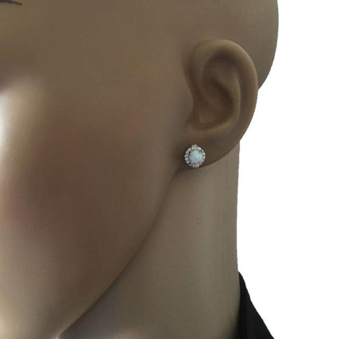 Zilveren opaal zirkonia oorstekers