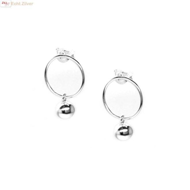 Zilveren cirkel bal oorstekers