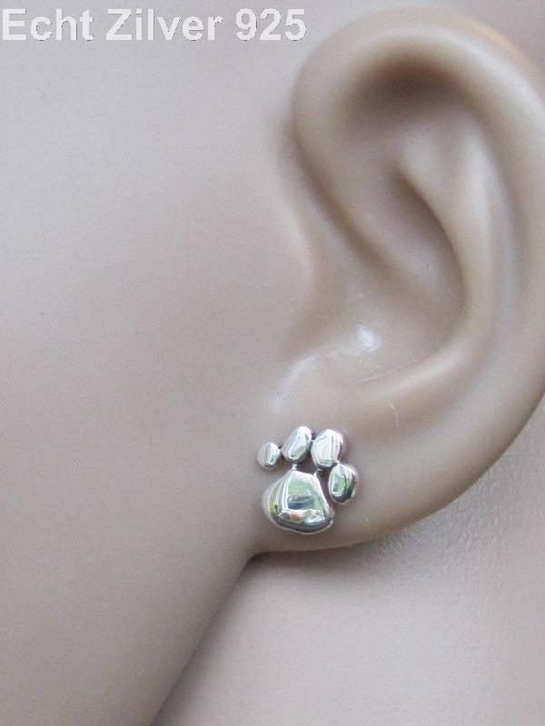 Zilveren oorstekers katten honden pootjes-2