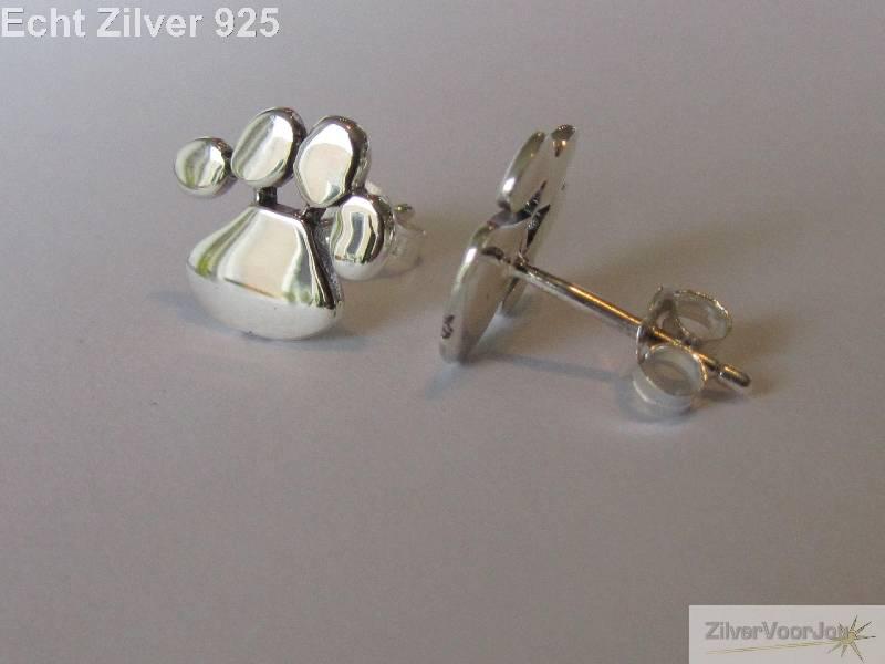 Zilveren oorstekers katten honden pootjes-3