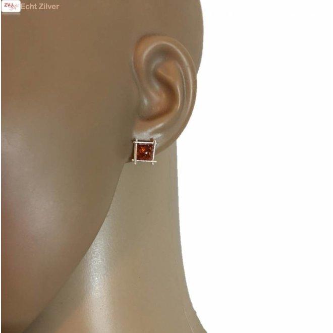 Zilveren barnsteen oorstekers